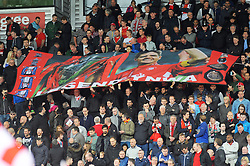 Liverpool's fans hold up a banner with Steven Gerrard to show there appreciation - Photo mandatory by-line: Nizaam Jones/JMP - Mobile: 07966 386802 - 24/05/2015 - SPORT - Football - Stoke - Britannia Stadium - Stoke City v Liverpool - Barclays Premier League