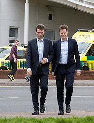 © Licensed to London News Pictures. 13/04/2015. Carshalton, UK.. Tom Brake and Nick Clegg (R) arrive outside St Helier Hospital to talk to supporters.  Leader of the Liberal Democrats and Deputy Prime Minister Nick Clegg visits Carshalton and Wallington constituency on Monday (13th April) with Lib Dem candidate Tom Brake.  Photo credit : Stephen Simpson/LNP