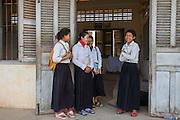 Children waiti outside their school  classroom in the village of in Banteay Char, near Battambang, Cambodia.