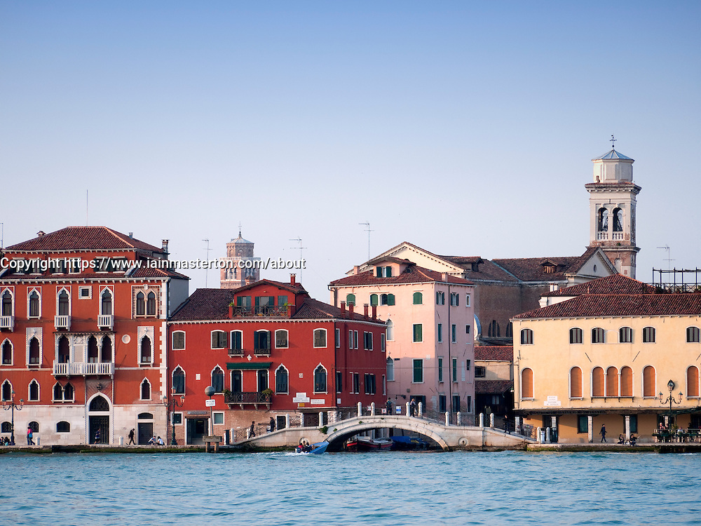 View of historic houses on waterside at Zattere in Venice Italy