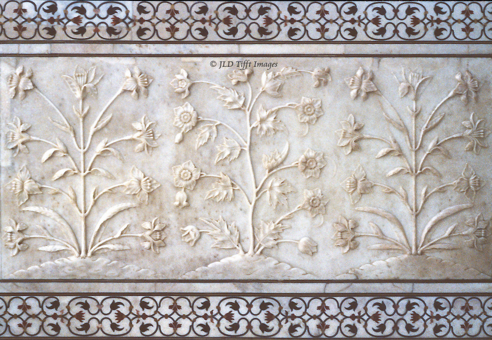 Three plants, stylized but botanically accurate, sculptured on a wall panel inside the Taj Mahal.  A stylized border top and bottom of pietra dura, scrolled in dark marble pietra dura.