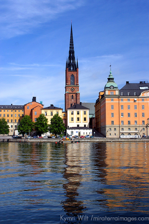 Europe, Sweden, Stockholm. A spire of the cityscape of Stockholm.