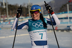 February 25, 2018 - Pyeongchang, South Korea - KRISTA PARMAKOSKI of Finland celebrates winning the silver medal in the Ladies' 30km Mass Start Classic cross-country ski racing event in the PyeongChang Olympic Games. (Credit Image: © Christopher Levy via ZUMA Wire)