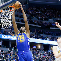 13 February 2017: Golden State Warriors forward Kevin Durant (35) goes for the dunk past Denver Nuggets forward Nikola Jokic (15) during the Denver Nuggets 132-110 victory over the Golden State Warriors, at the Pepsi Center, Denver, Colorado, USA.