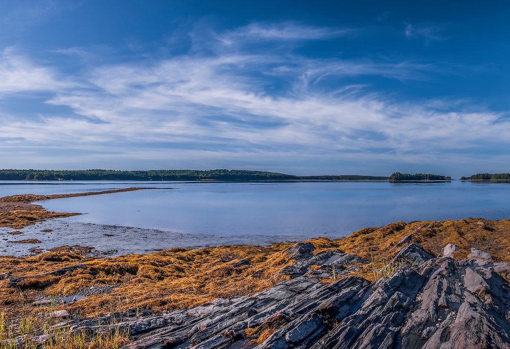 Striated bedrock and water views in morning light, Simpsons Point, Brunswick, ME