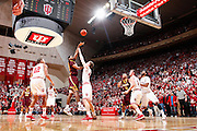 BLOOMINGTON, IN - JANUARY 12: Ralph Sampson III #50 of the Minnesota Golden Gophers shoots over Cody Zeller #40 of the Indiana Hoosiers at Assembly Hall on January 12, 2012 in Bloomington, Indiana. Minnesota defeated Indiana 77-74. (Photo by Joe Robbins)