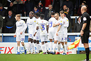Coventry City forward Amadou Bakayoko celebrates with team mates after he put Coventry ahead 0-1 during the EFL Sky Bet League 1 match between Peterborough United and Coventry City at London Road, Peterborough, England on 16 March 2019.