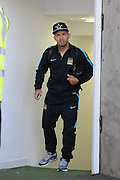 Sergio Aguero appears from dressing room without aid despite going off injured during the Barclays Premier League match between Crystal Palace and Manchester City at Selhurst Park, London, England on 12 September 2015. Photo by Michael Hulf.