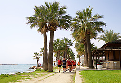 LARNACA, CYPRUS - Tuesday, March 6, 2018: Wales players during a team walk around the Palm Beach Hotel & Bungalows in Larnaca on day eight of the Cyprus Cup tournament. (Pic by David Rawcliffe/Propaganda)