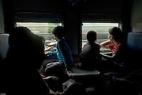 Children on New Delhi-bound train, India.