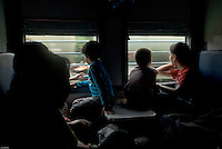Children on New Delhi-bound train, India.