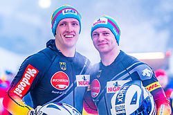 18.01.2020, Olympia Eiskanal, Innsbruck, AUT, BMW IBSF Weltcup Bob und Skeleton, Igls, Bob Zweisitzer, Herren 2. Lauf, im Bild Thorsten Margis, Francesco Friedrich (GER) // Thorsten Margis Francesco Friedrich of Germany reacts after his 2nd run of men's doubles Bobsleigh of BMW IBSF World Cup at the Olympia Eiskanal in Innsbruck, Austria on 2020/01/18. EXPA Pictures © 2020, PhotoCredit: EXPA/ Stefan Adelsberger