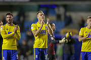 Birmingham City players celebrate at full time during the EFL Sky Bet Championship match between Millwall and Birmingham City at The Den, London, England on 28 November 2018.