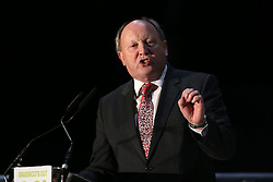 © Licensed to London News Pictures. 4/03/2016. Belfast, Northern Ireland, UK. Jim Allister MLA (Leader, Traditional Unionist Voice) joins Brexit supporters gather in Belfast for a Grassroots Out rally. Speakers included Sammy Wilson MP (DUP) Kate Hoey MP (Labour) Nigel Farage MEP (Leader, UKIP) Peter Bone MP (Conservative) Tom Pursglove MP (Conservative) David McNarry MLA (Leader, UKIP NI) Graham Gudgin (Economist) Kevin McCorry (People's Movement)       Photo credit : Paul McErlane/LNP