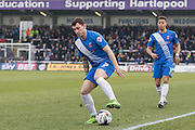 Hartlepool United midfielder Nathan Thomas in action during the Sky Bet League 2 match between Hartlepool United and Dagenham and Redbridge at Victoria Park, Hartlepool, England on 12 March 2016. Photo by George Ledger.