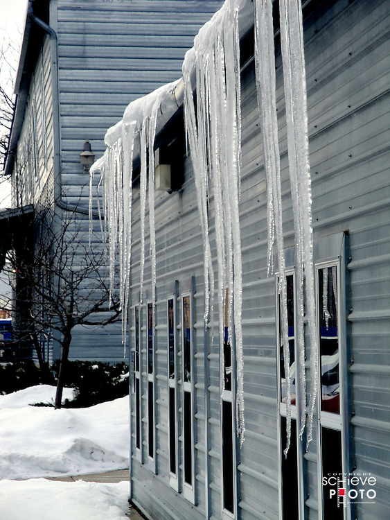 Icicles on a steel building.