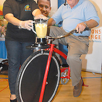 Santa Monica Council Member Dr. Robert Holdbrook makes a pineapple smoothies while riding a stationary bicycle at the Santa Monica YMCA  during the National Center on Addiction Substance Abuse's (CASA) Family Day - A Day to Eat Dinner with Your Children(TM) on Tuesday, September, 28, 2010..