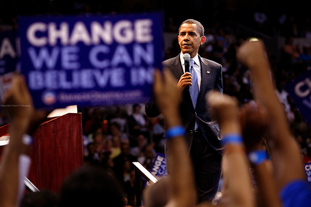 Tampa - St. Petersburg, Florida, USA, 20080521:   Presidential hopeful Senator Barack Obama (D) holds speach at the St Pete Times Forum in St. Petersburg / Tampa...Photo: Orjan F. Ellingvag/ Dagens Naringsliv/ Corbis