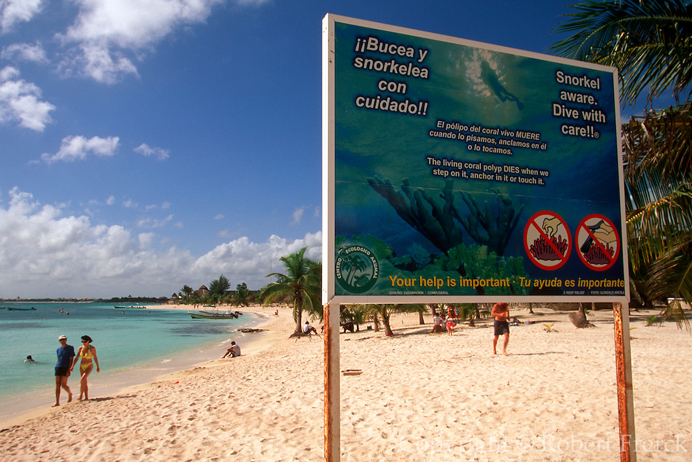 MEXICO, YUCATAN, TOURISM sign with rules for swimming