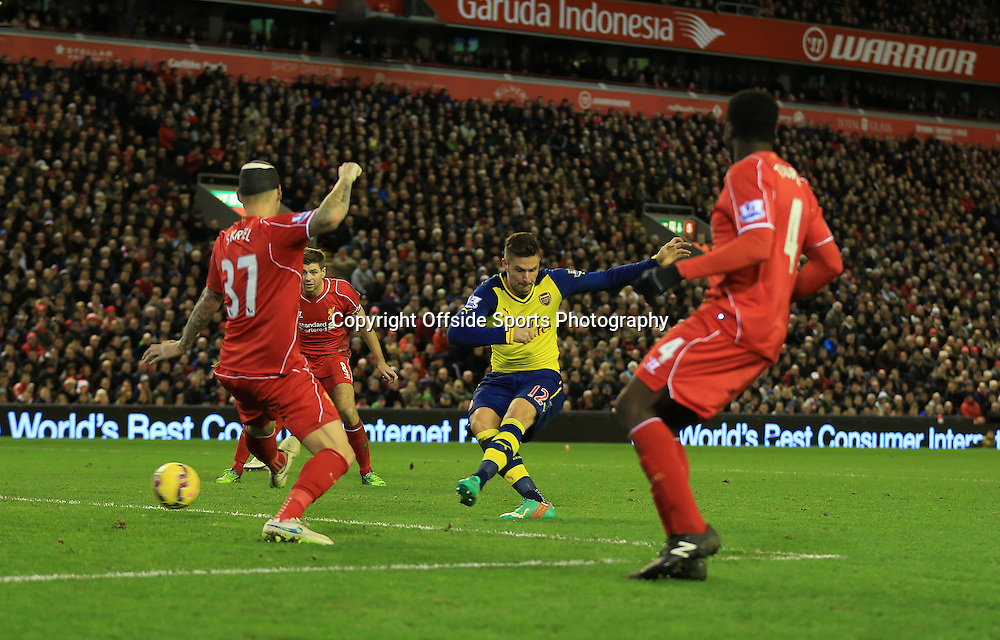 21 December 2014 - Barclays Premier League - Liverpool v Arsenal - Olivier Giroud of Arsenal scores a goal to make it 1-2 - Photo: Marc Atkins / Offside.