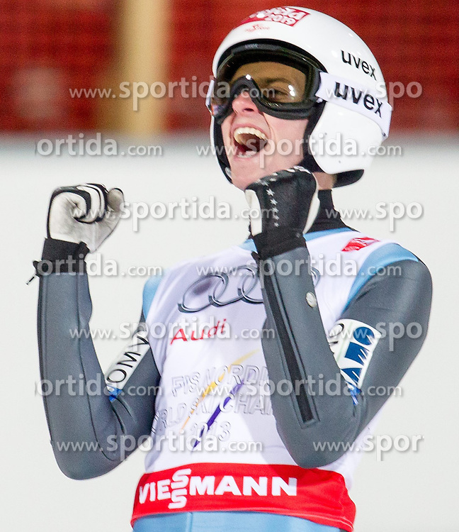 28.02.2015, Lugnet Ski Stadium, Falun, SWE, FIS Weltmeisterschaften Ski Nordisch, Skisprung, Herren Team, Finale, im Bild Manuel Poppinger (AUT) // Manuel Poppinger of Austria during the Mens Team Skijumping Final of the FIS Nordic Ski World Championships 2015 at the Lugnet Ski Stadium, Falun, Sweden on 2015/02/28. EXPA Pictures © 2015, PhotoCredit: EXPA/ JFK