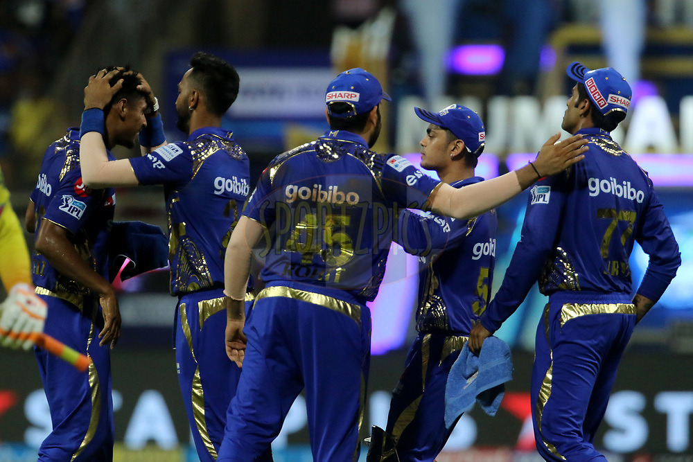 Mumbai Indians players celebrates the wicket Chennai Superkings of Ravindra Jadeja of the Chennai Superkings during match one of the Vivo Indian Premier League 2018 (IPL 2018) between the Mumbai Indians and the Chennai Super Kings held at the Wankhede Stadium in Mumbai on the 7th April 2018.<br /> <br /> Photo by Vipin Pawar / IPL / SPORTZPICS