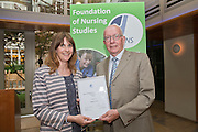 Rebecca Lacey & Professor Tony Butterworth at the  Foundation of Nursing Studies Celebrating Innovation and Excellence held on 07 June 2016 1800-2000. <br /> <br /> Celebrating and sharing the innovative nurse-led work that makes health and social care excellent.<br /> <br /> In the presence of  Professor Tony Butterworth CBE, Chair of Trustees, FoNS and Dr Theresa Shaw, Chief Executive of FoNS Professor and Jane Cummings, Chief Nursing Officer, NHS England along with invited guests.<br /> <br /> Richard Tompkins Nurse Development Scholarships awarded to Rachel Bevan & Rebecca Lacey. <br /> <br /> Best Poster 'Person-centred Paediatric Care: Capturing the Experience and Collaborating for the Future' by Ruth Magowan, Ann Chalmers, Tracey Millin and Chrissie Smith