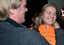 08-03-2015 CZE: European Athletics Indoor Championships, Prague<br /> Vader Ernst Schippers feliciteert zijn dochter Dafne met het goud