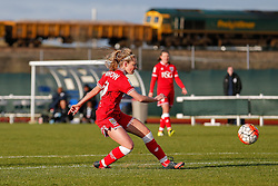 Millie Farrow of Bristol City Women scores a goal to make it 6-1 - Mandatory byline: Rogan Thomson/JMP - 14/02/2016 - FOOTBALL - Stoke Gifford Stadium - Bristol, England - Bristol City Women v Queens Park Rangers Ladies - SSE Women's FA Cup Third Round Proper.