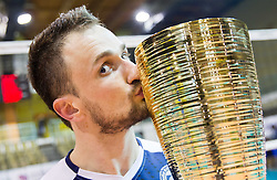 Dejan Cabarkapa of Salonit celebrates after winning during volleyball match between OK Calcit Volleyball Kamnik and OK Salonit Anhovo in final of Slovenian Men's Cup 2013/14 on January 27, 2014 in Arena Tabor, Maribor, Slovenia. Photo by Vid Ponikvar / Sportida