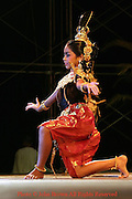 A dancer clad in traditional Thai dress performs during the annual Krabi Dance Festival in Krabi, Thailand.