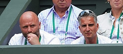 LONDON, ENGLAND - Tuesday, June 26, 2012: Petra Kvitova's coach David Kotyza and fitness coach Jozef Ivanko during the Ladies' Singles 1st Round match on day two of the Wimbledon Lawn Tennis Championships at the All England Lawn Tennis and Croquet Club. (Pic by David Rawcliffe/Propaganda)