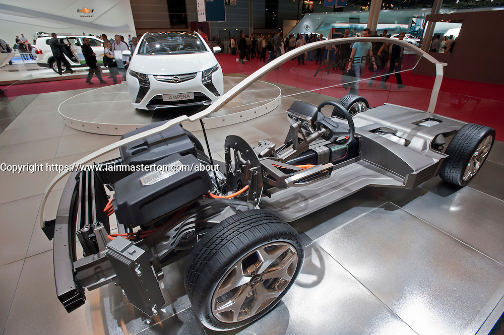 Cut away of Opel Ampera electric car at Paris Motor Show 2010