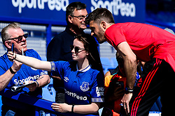 Manchester United coach Michael Carrick poses for a selfie with an Everton fan - Mandatory by-line: Robbie Stephenson/JMP - 21/04/2019 - FOOTBALL - Goodison Park - Liverpool, England - Everton v Manchester United - Premier League