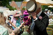 Lunch part hosted by Liz Brewer and Mrs. George Piskova in No; 1 car-park. . Royal Ascot. Tuesday. 14 June 2011. <br /> <br />  , -DO NOT ARCHIVE-© Copyright Photograph by Dafydd Jones. 248 Clapham Rd. London SW9 0PZ. Tel 0207 820 0771. www.dafjones.com.