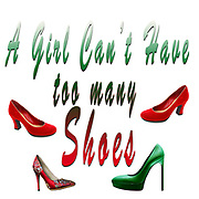 "Digitally enhanced image of the Text ""A Girl Can't have too many Shoes"""