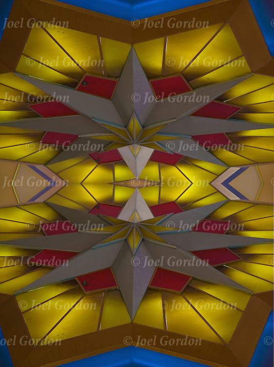 Close up of mirror image of exterior Art Deco design light fixture elements in the Resorts Casino Hotel