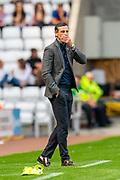 Sunderland AFC manager, Jack Ross looks concerned during the EFL Sky Bet League 1 match between Sunderland and Portsmouth at the Stadium Of Light, Sunderland, England on 17 August 2019.