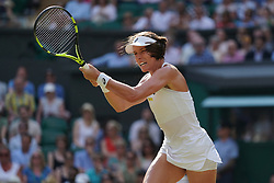© Licensed to London News Pictures.05/07/18.<br /> London, UK: The Wimbledon Lawn Tennis Championships at All England Lawn Tennis and Croquet Club<br /> Ladies singles - second round<br /> Johanna Konta (GBR) Loses to Dominika Cibulkova (svk)