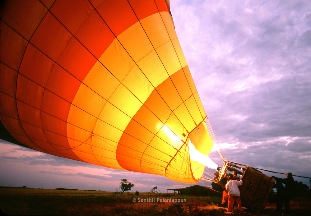Hot Air Balloon about to take off, Masai Mara, Kenya