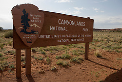 Entrance sign to the The Needles District of Canyonlands National Park, south of Moab, Utah.
