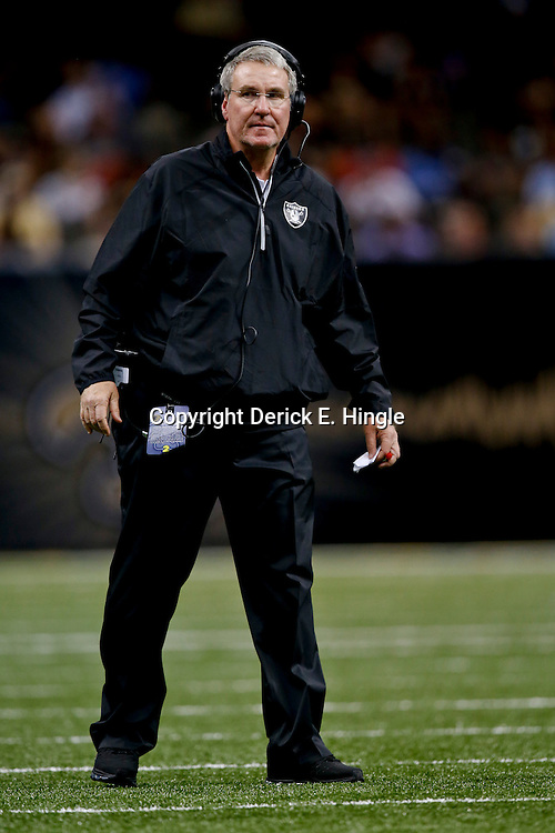 Aug 16, 2013; New Orleans, LA, USA; Oakland Raiders linebackers coach Bob Sanders against the New Orleans Saints during a preseason game at the Mercedes-Benz Superdome. Mandatory Credit: Derick E. Hingle-USA TODAY Sports