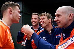 13-09-2019 NED: EC Volleyball 2019 Netherlands - Montenegro, Rotterdam<br /> First round group D Netherlands win 3-0 / Mixed zone Michael Parkinson #17 of Netherlands, Ewoud Gommans #9 of Netherlands, Wessel Keemink #2 of Netherlands, Wouter Ter Maat #16 of Netherlands