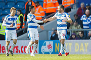 GOAL 3-0 Queens Park Rangers forward Tomer Hemed (16) scores and celebrates with Queens Park Rangers midfielder Massimo Luongo (21) during the EFL Sky Bet Championship match between Queens Park Rangers and Swansea City at the Loftus Road Stadium, London, England on 13 April 2019.
