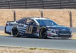 June 22, 2018 - Sonoma, CA, U.S. - SONOMA, CA - JUNE 22: Aric Almirola, driving the #(10) Ford for Stewart-Haas Racing heads into turn 10 on Friday, June 22, 2018 at the Toyota/Save Mart 350 Practice day at Sonoma Raceway, Sonoma, CA (Photo by Douglas Stringer/Icon Sportswire) (Credit Image: © Douglas Stringer/Icon SMI via ZUMA Press)