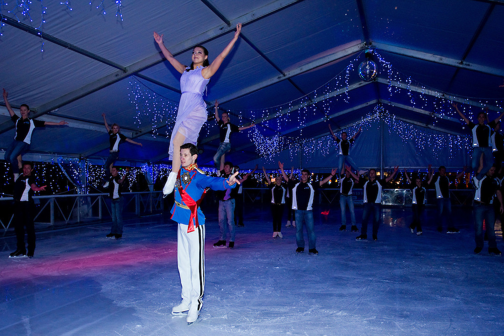 Bogdan Berezenko and Anastasia Ignatyeva from the Imperial Ice Stars perform at the official opening of the Aotea Square Ice Rink, Auckland, New Zealand, Thursday, June 28, 2012.   Credit: SNPA / David Rowland