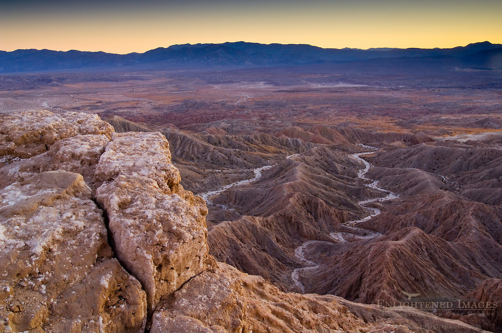 Sunset light over eroded hills at the Borrego Badlands, from Fonts Point, Anza Borrego Desert State Park, San Diego County, California