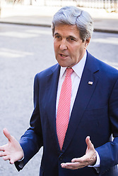 Downing Street, London, July 19th 2016. US Secretary of State John Kerry leaves Downing Street and addresses the press after paying a courtesy call on Prime Minister Theresa May ahead of talks with British Foreign Secretary Boris Johnson.