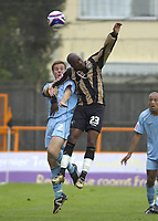 Photo: Matt Bright.<br /> Barnet v Mansfield Town. Coca Cola League 2. 13/10/2007.<br /> Johnny Mullins of Mansfield Town & Jason Norville of Barnet clash in the air