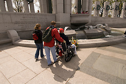 Washington DC, The National World War II Memorial, showing Pacific and European Theatres, with 4000 stars one each for 100 men who died, hosting veterans returning for a final look.  Photo wash99316-70691..Photo copyright Lee Foster, www.fostertravel.com, lee@fostertravel.com, 510-549-2202..